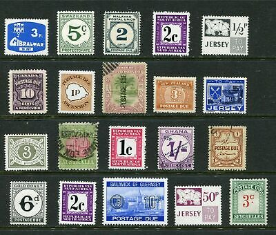 British Commonwealth Postage Due stamps - 20 different - as shown - CS001