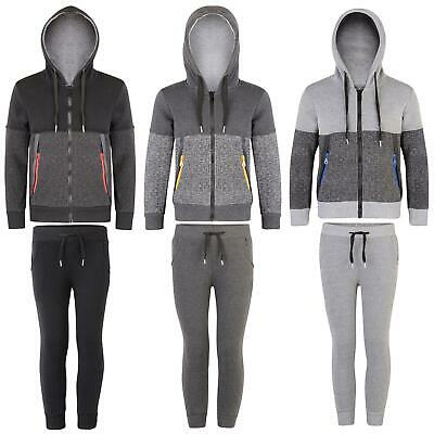 Kids Contrast Zips 2 Pieces Set Girls Hooded Jacket Boys Joggers Tracksuit 3-14Y