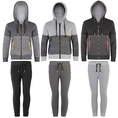 Kids Jacket or Trousers Contrast Zips Boys Hooded Top Girls Joggers 3-14 Years