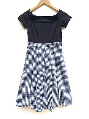 ModCloth Womens Double The Lovely Blue Jacquard A Line Off The Shoulder Dress XS