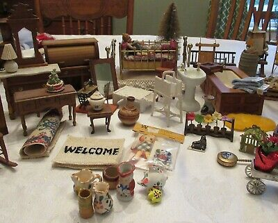 66 Pc. Lot Miniature Dollhouse Furniture & Access. Several Shackman Pieces