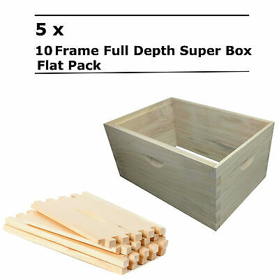 5 x 10 Frame Full Depth Beehive Super Bee Hive Box Dovetail Joint Boxes Supers