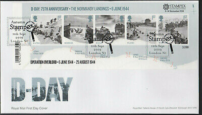 2019 - D-Day Mini Sheet FDC - LondonN1 (Stampex) Pmk - Post Free