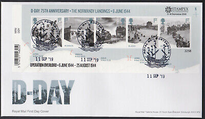2019 - D-Day Mini Sheet FDC - Portsmouth (Stampex) Pmk - Post Free
