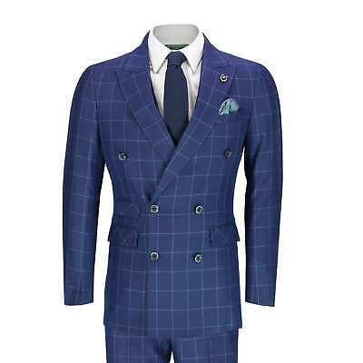 Mens 3 Piece Double Breasted Suit Vintage Blue on Blue Bold Checks Tailored Fit
