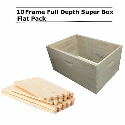 10 Frame Full Depth Beehive Super Bee Hive Box Dovetail Joint Boxes Supers Deep