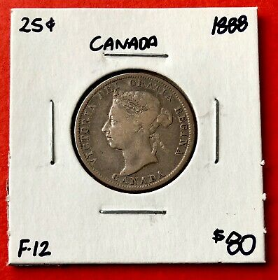 1888 25 Cent Canada Twenty Five Cents Quarter Coin - Fine