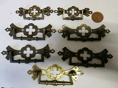 7 Antique Cabinet Door ORNATE Brass French CUPBOARD HANDLES PULLS c1910