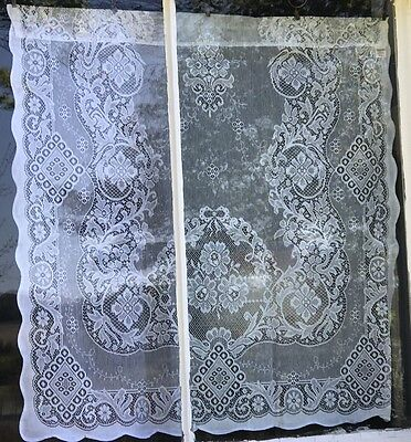 "Laura Ashley Victorian style cotton lace curtain panel 36""by 36"" Jessica Cream"