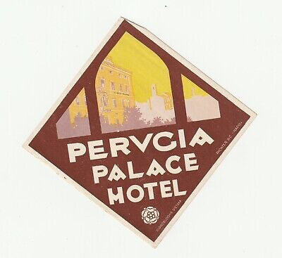 Genuine 1929 Vintage Luggage Label Sticker Perugia Palace Hotel Perugia, Italy