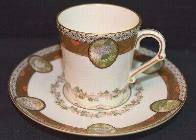 Floral Medallions Satsuma Pottery Cup and Saucer