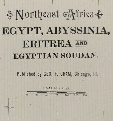 """NORTHEAST AFRICA 1903 Vintage Atlas Map 14""""x22"""" ~ Old Antique EGYPT ABYSSINIA"""