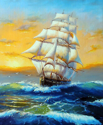 1800s Sailing Ship Sunset Classic Ocean Seascape Stretched 20X24 Oil Painting