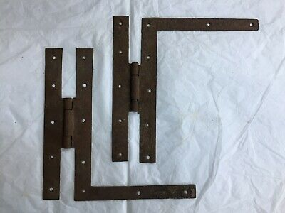 2 Antique Hand Forged Wrought Iron H L Hinges Hardware Reclaimed 9""