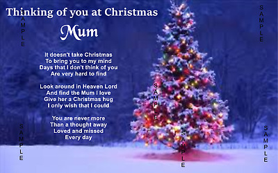 A5 Christmas Memorial Grave Card/Personalised Funeral Keepsake/With Holder