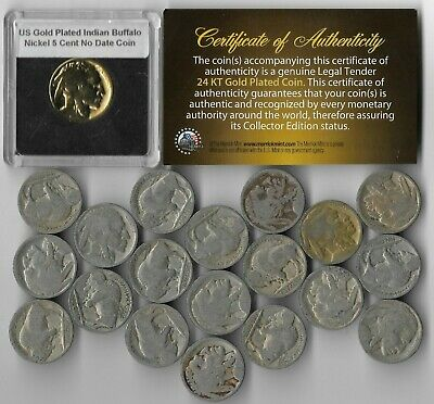 GREAT DEPRESSION Antique US Buffalo Indian Nickel Coin Collection Gold LOT:296