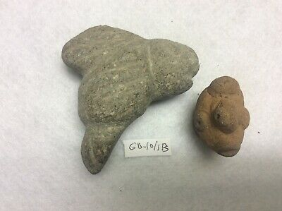 GD-10/1B Lot of 2 Pre-Columbian Artifacts Basalt + Terracotta Ca 300bc-600ad