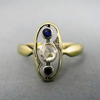 Beautiful Antique Art Deco Ladies Ring in Gold with a Diamantrose and Sapphires