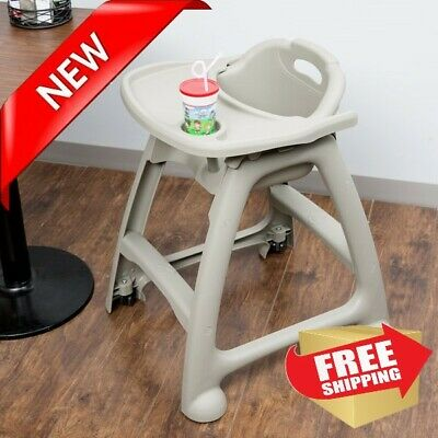 NEW Restaurant High Chair Plastic Stackable GRAY with Tray and Wheels