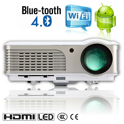 Smart Android Bluetooth HD LED Projector 4000LM Wireless Home Theater HDMI VGA