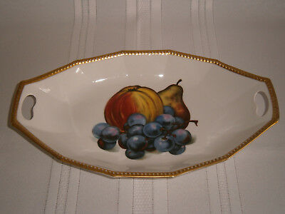 Antique Vintage Hand Painted Fruit Cream Ironstone Dish No.119 1900's Europe.