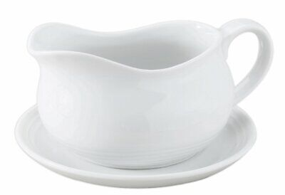 HIC Hotel Gravy Sauce Boat with Saucer Stand Fine White Porcelain 24-Ounces