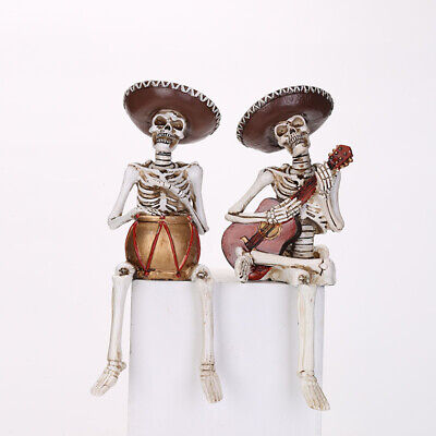 Skeleton Mariachi Band Guitar Snare Player Day of the Dead Halloween Figurine
