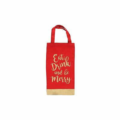 CGB Giftware Christmas Eat Drink and Be Merry Glitter Bottle Bag (CB240)