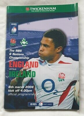 England v Ireland 6th March 2004 Rugby Programme