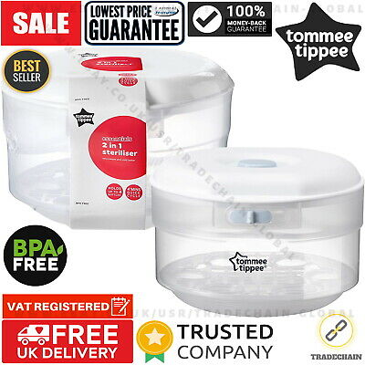 Tommee Tippee Microwave Steriliser Holds 4 Closer to Nature Bottles Essentials