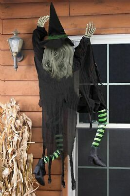5ft LIFESIZE CLIMBING WITCH ~ OUTDOOR HALLOWEEN HAUNTED HOUSE PROP DECORATION!