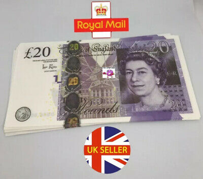 1X 20 Note Realistic UK Pounds Prop Money British ACTUAL SIZE! -Fast shipping