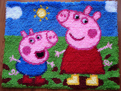 Latch hook rug kit 'Peppa & George' (50x65 cm)