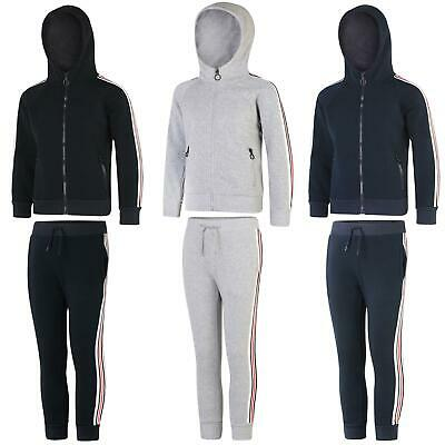 Kids Casual Tracksuit Girls Fleece Boys Zip Fastening Stripe Detailing Set 3-14Y