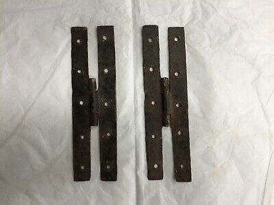 2 Antique Hand Forged Wrought Iron H Hinges Hardware Reclaimed 6 1/2""