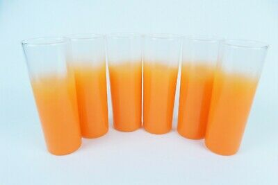 Vintage Mid Century Orange Blendo High Ball Glasses Tumblers Set of 6 Ombre 1950