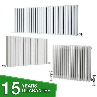White Horizontal Designer Radiator - Flat Panel, Oval Column & Cast Iron Style
