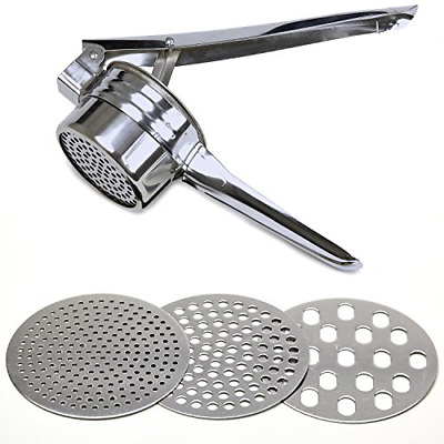 Stainless Steel Potato Ricer Manual Masher for Potatoes Fruits 3 Interchangeable