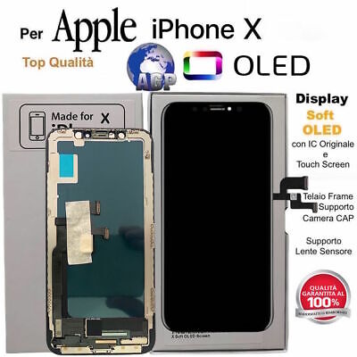 "Display LCD Soft OLED Touch Screen per Apple iPhone X Nero 5,8"" Originale TIANMA"
