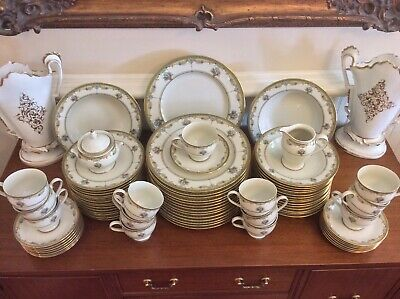 Large HOLIDAY Green & Gold China Dinnerware Set Service for 14 -1 Cup