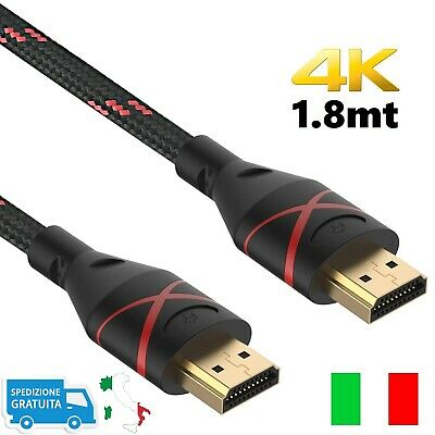 Cavo HDMI 4K 2K UHD HD 1.8 MT High Speed TV Monitor Audio Video ARC Intrecciato