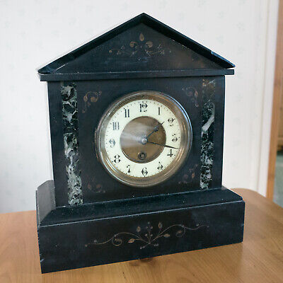 Antique Victorian French Mantel Clock in Black Slate & Marble + Pendulum. 11.5""