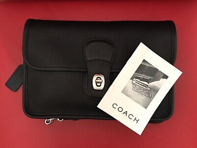 New Coach Vintage Black Leather Nickel Clutch Mini Briefcase Organizer 9832