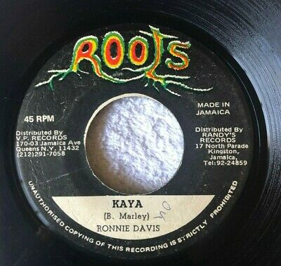 "RONNIE DAVIS: ""Kaya"" on ROOTS label Jamaica 45 7"" Bob Marley Version Reggae VG+"