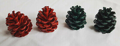 Lot of 4 Small 2.5-3 inch Christmas Color Pine Cones for decoration crafts etc