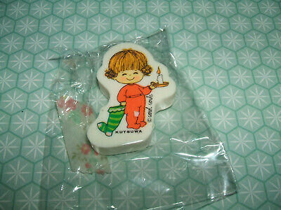 Rare Vintage 1970s Kutsuwa St Carol Cute Girl holding candle eraser rubber gomme