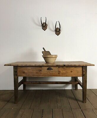 19th Century Antique Country Farmhouse Refectory Kitchen Table