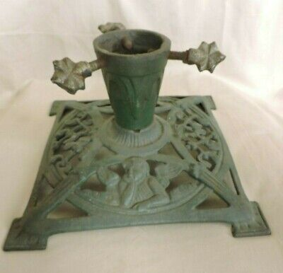 Antique 1930's CHRISTMAS TREE STAND With ANGELS Cast Iron GERMAN