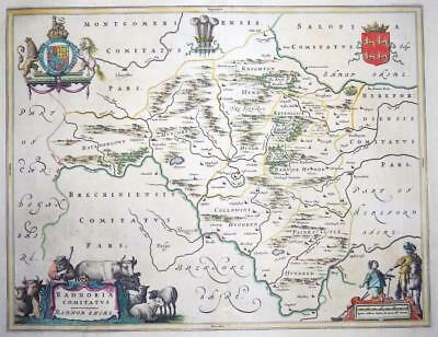 c1648 - WALES Original Antique large Map of RADNORSHIRE RADNOR by BLAEU