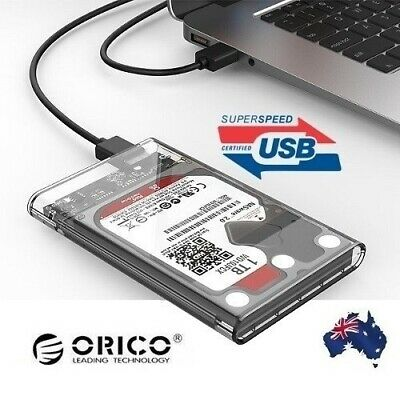 "Genuine ORICO USB 3 Transparent 2.5"" SATA SSD HDD Hard Disk Drive Enclosure Case"